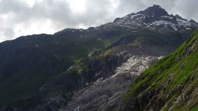 Aerial view of waterfall Rhone Glacier