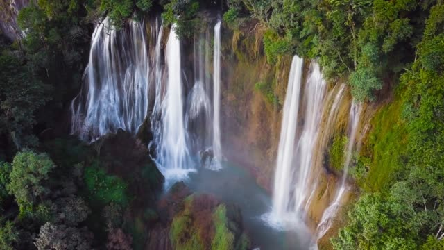 Aerial view of Waterfall Thi Lor Su is located in Deep Forest, The Umphang, Tak province, which links with the Thung Yai Naresuan and Huay Kha Khang, Thailand. 4K