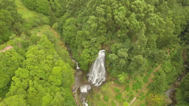 aerial view of waterfall - アゾレス諸島点の映像素材/bロール