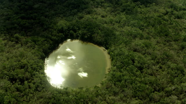 vídeos de stock, filmes e b-roll de aerial view of water-filled sinkhole - poço