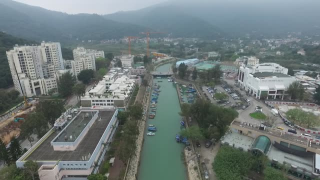 aerial view of waterway in mui wolantau island hong kong - lantau stock videos and b-roll footage