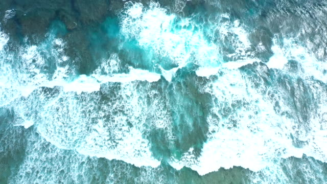 aerial view of wave pattern - okinawa prefecture stock videos & royalty-free footage