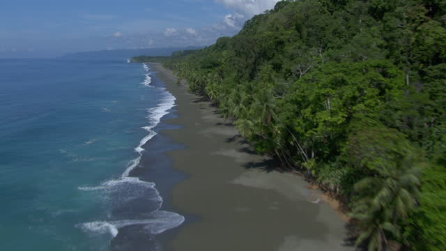 aerial view of waves crashing on pacific ocean beach in the puntarenas province of costa rica. - puntarenas province stock videos & royalty-free footage