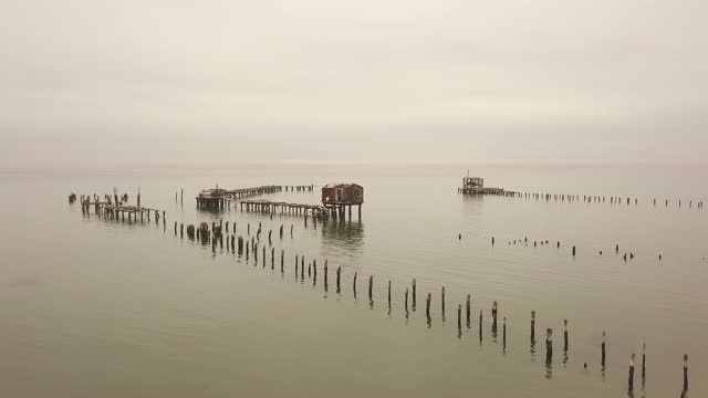 aerial view of weathered boardwalks, former whaling, tigres island - former stock videos & royalty-free footage