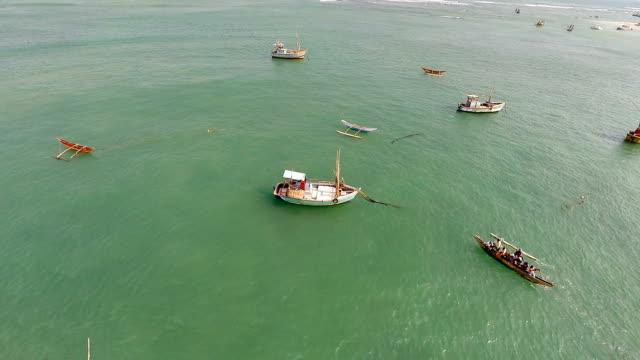 Aerial view of Weligama fishing boats Sri Lanka