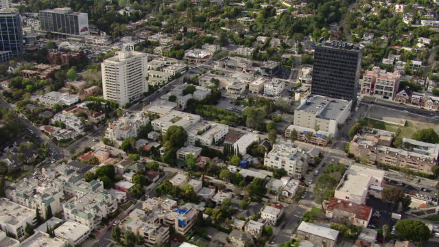 Aerial view of West Hollywood, Los Angeles at Sunset Boulevard.