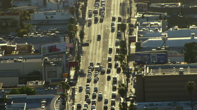 Aerial view of West Sunset Boulevard in Hollywood, Los Angeles, California.