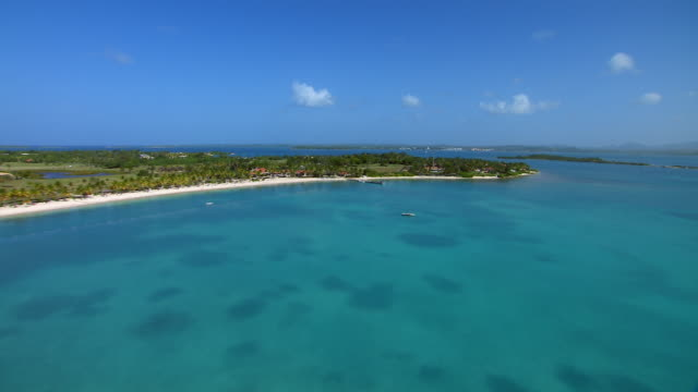 Aerial view of Western shore of Antigua's Long Island in the Caribbean Sea.