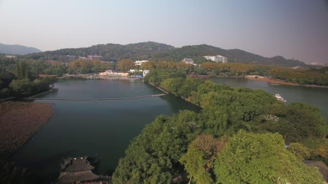 aerial view of westlake in hangzhou - zhejiang province stock videos & royalty-free footage