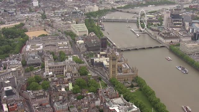 aerial view of westminster - aircraft point of view stock videos & royalty-free footage