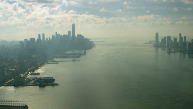 aerial view of westside manhattan and hudson river in new york city - hudson river stock videos & royalty-free footage