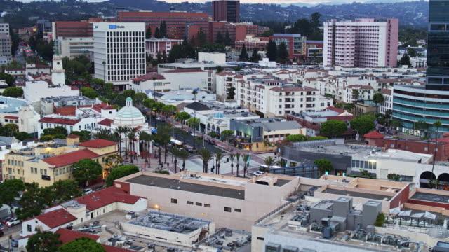 aerial view of westwood plaza, los angeles - westwood neighborhood los angeles stock videos & royalty-free footage
