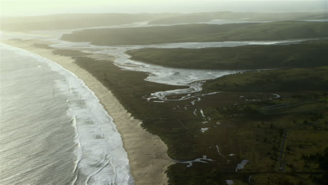 Aerial view of wetlands area and Limantour Spit at Point Reyes National Seashore.