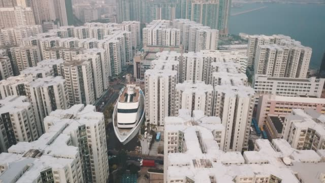 aerial view of whampoa district in hongkong - hong kong stock videos & royalty-free footage