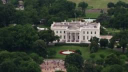 Aerial view of White House.