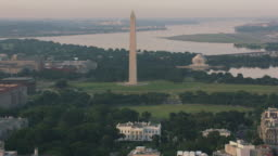 Aerial view of White House, Washington Monument and Jefferson Memorial.