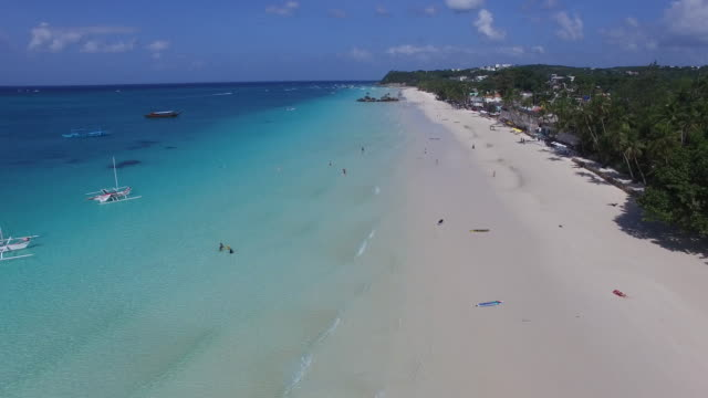 Aerial view of white sand beach on Boracay Island