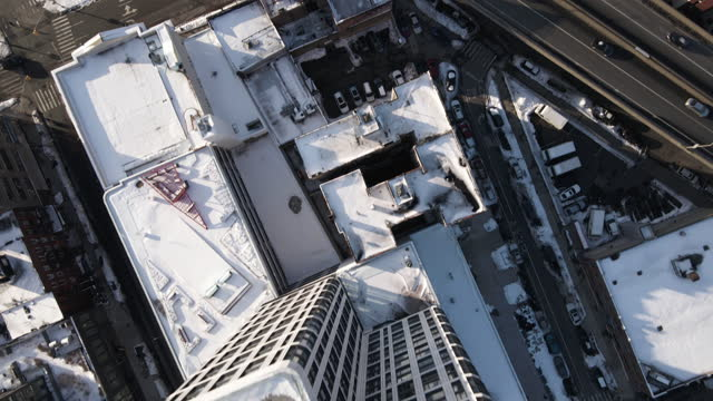 aerial view of williamsburg, brooklyn - snow stock videos & royalty-free footage