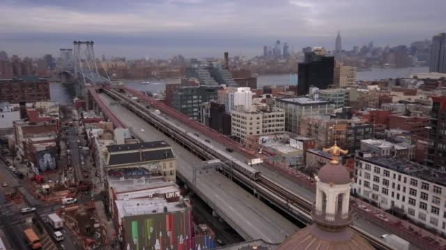 aerial view of williamsburg brooklyn - brooklyn new york stock videos & royalty-free footage