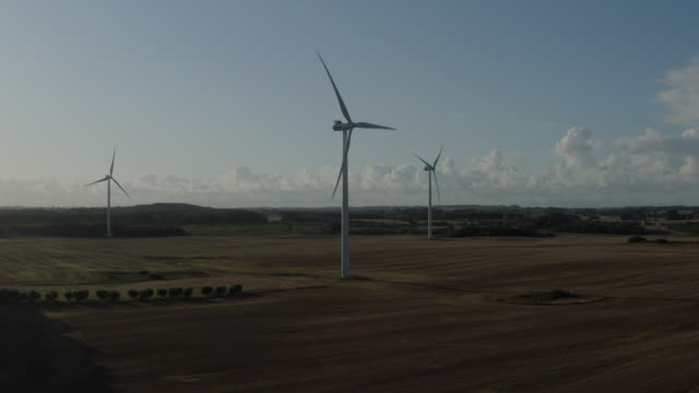 aerial view of wind farm - turbine stock videos & royalty-free footage