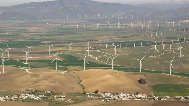 aerial view of wind farm (one of the largest in Europe)