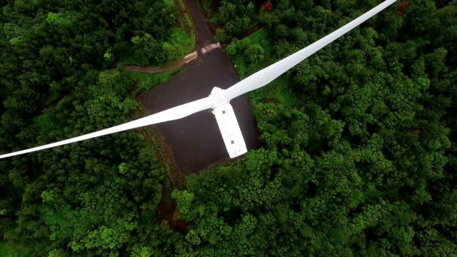 Aerial view of wind power generators