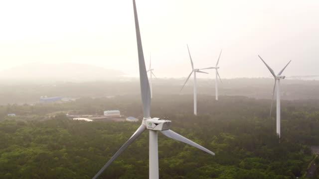 aerial view of wind power generators - wind power stock videos & royalty-free footage