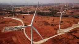 Aerial view of wind turbine alternative energy from nature