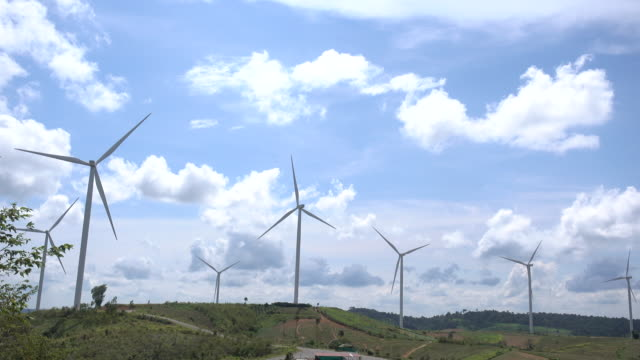 aerial view of wind turbine at beatiful sky - 40 seconds or greater stock videos & royalty-free footage