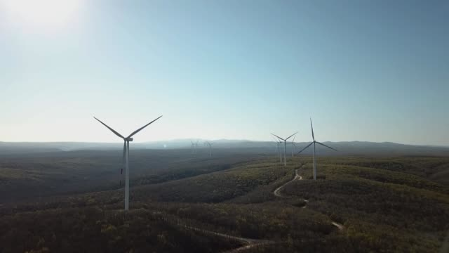 aerial view of wind turbine farm in turkey - power supply stock videos & royalty-free footage