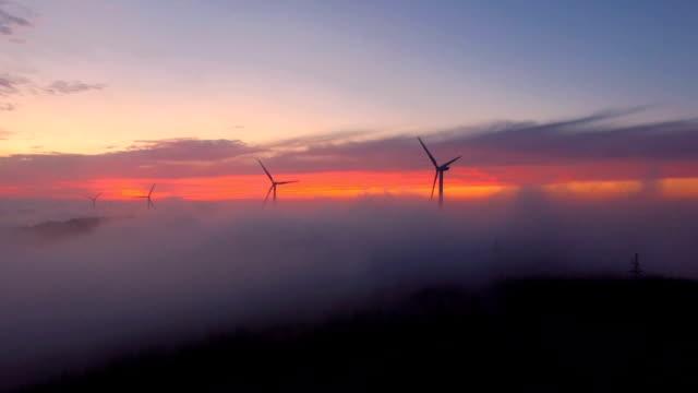 Luftaufnahme von Windkraftanlagen bei Sonnenuntergang