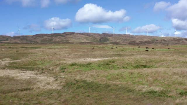 vidéos et rushes de vue aérienne des éoliennes dans un endroit écossais éloigné - remote location