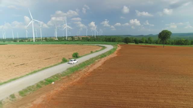 Luftaufnahme von Windturbinen in blauer Himmel