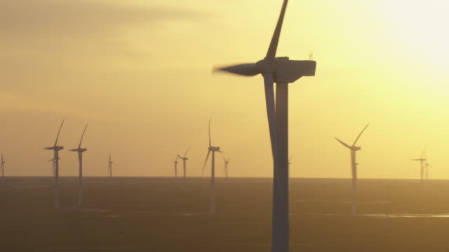 vidéos et rushes de aerial view of wind turbines in kenedy county, texas, at sunset. - gulf coast states