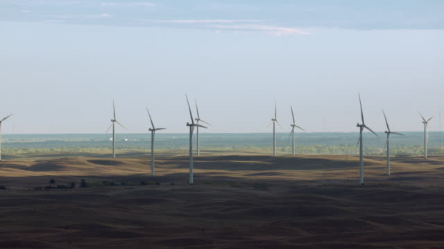 aerial view of wind turbines in nebraska sandhills, united states of america - 1 minute or greater stock videos & royalty-free footage