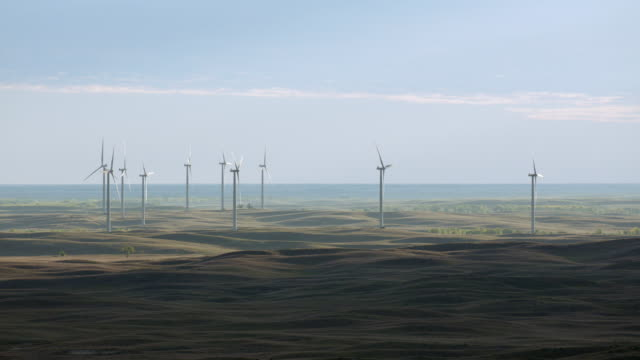 aerial view of wind turbines in sandhills region in nebraska, united states of america - nebraska stock videos & royalty-free footage