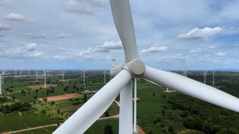 aerial view of wind turbines in the fields - turbine stock videos & royalty-free footage