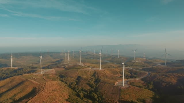 Aerial view of wind turbines on mountain range Thailand