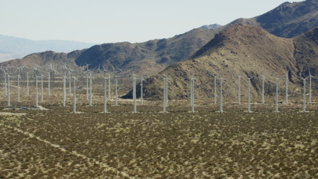aerial view of wind turbines palm springs california - palm springs california stock videos & royalty-free footage