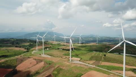 aerial view of wind turbines - wind turbine stock videos & royalty-free footage