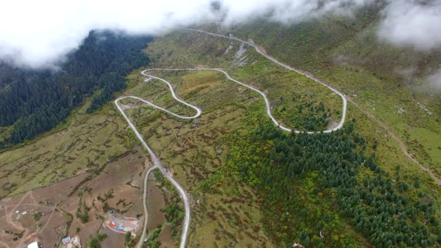 Aerial View of Winding mountain road of Zhagana,Gansu, China