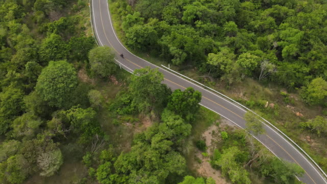 aerial view of winding road on the mountain and motorcycle driving - motorcycle stock videos & royalty-free footage