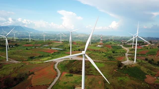 風車替代能源,風力渦輪機的鳥瞰圖。 - 風力 個影片檔及 b 捲影像