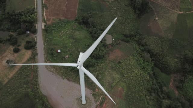 aerial view of windmill - scienza e tecnologia video stock e b–roll