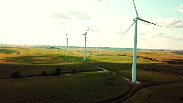 aerial view of windmills in iowa