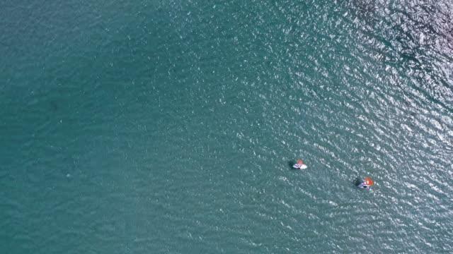 aerial view of windsurfing in alacati, izmir - windsurf video stock e b–roll