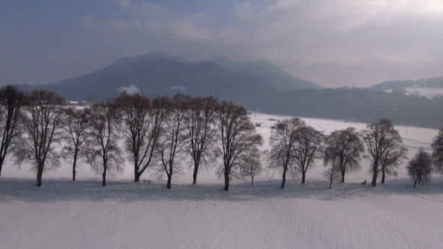ws aerial view of winter landscape in the karwendel mountains - karwendel mountains stock videos and b-roll footage
