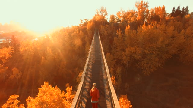 aerial view of woman jogging across wooden bridge at sunset, city in the distance - top capo di vestiario video stock e b–roll