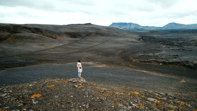 aerial view of woman looking  at barren  in iceland - beauty in nature stock videos & royalty-free footage