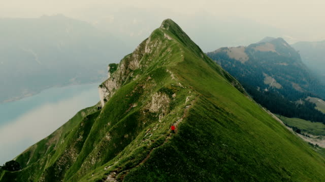 vídeos de stock e filmes b-roll de aerial view of woman running on the mountain ridge in swiss alps - trilho